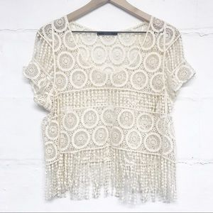 Anthropologie Dulcie Crochet Lace Fringe Crop Top